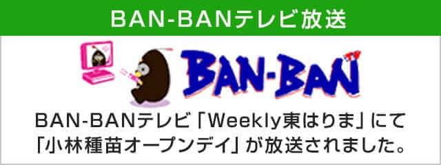 BAN-BANテレビ放送 BAN-BANテレビBAN-BANテレビ「Weekly東はりま」にて「小林種苗オープンデイ」が放送されました。