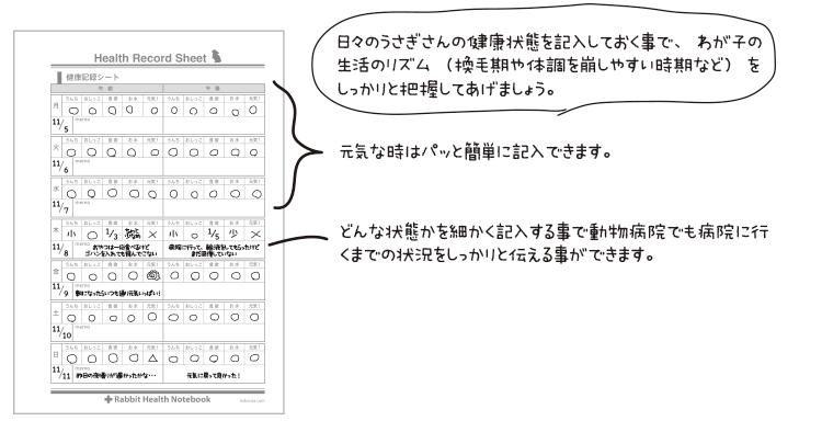 うさぎの健康手帳 健康記録シート