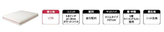 寝心地ソフト 5.8インチ 並行配列 5層ラバータッチウレタン使用 ニット生地