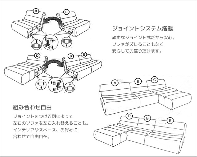 ジョイント式で組み合わせ自由自在なソファ