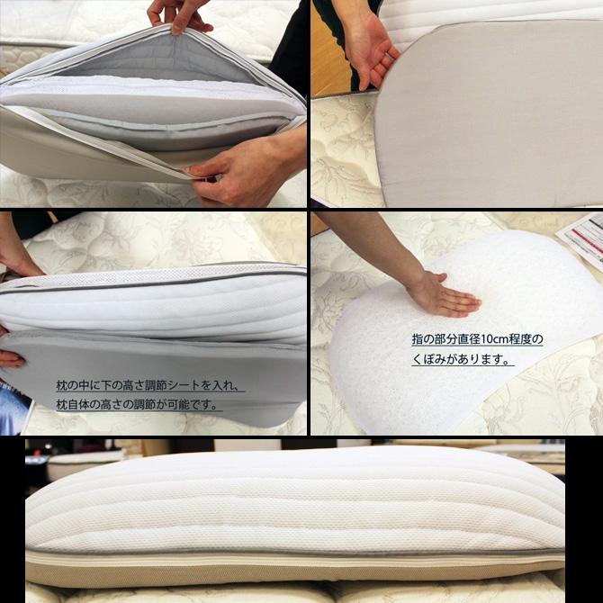 枕の中に調節シートを入れ、枕自体の高さ調節が可能 直径10cm程度のくぼみがあります。