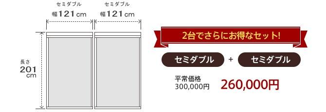 2台セットでさらにお得 セミダブル+セミダブル 260,000円