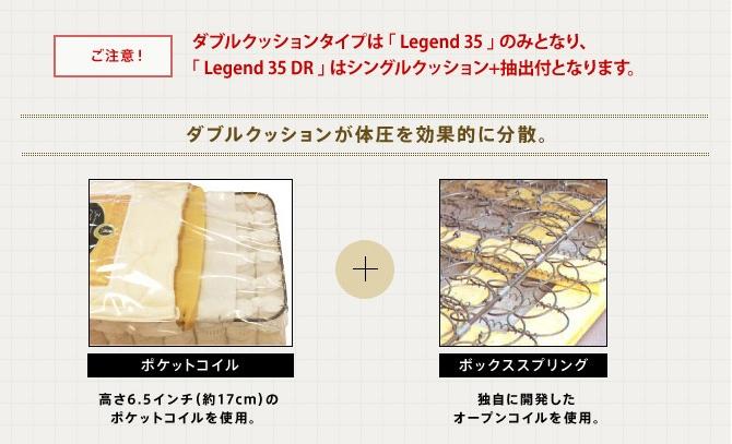 ご注意! ダブルクッションタイプは「Legend 35」のみとなり、[Legend 35 DR]はシングルクッション+抽出付となります。ダブルクッションが体圧を効果的に分散。
