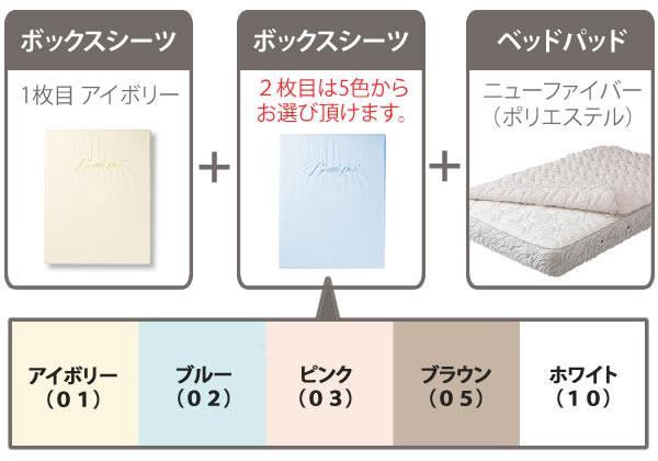 SIMMONSコンポ3 ボックスシーツ2枚とベッドパッドのセット