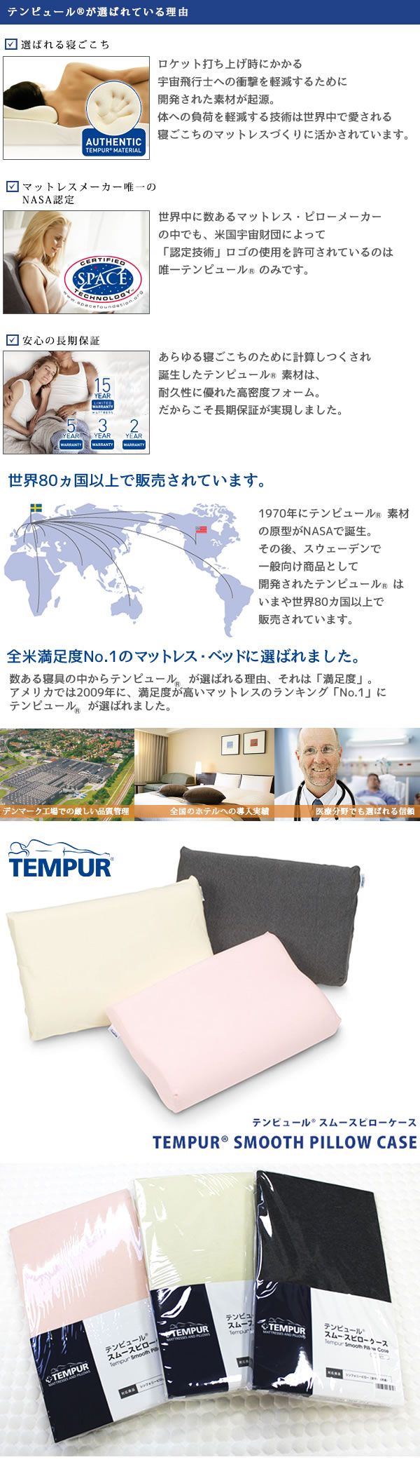 TEMPUR テンピュール スムースピロケース(トラディショナルピロー・ブリーズピロー対応)