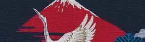 鶴に赤富士