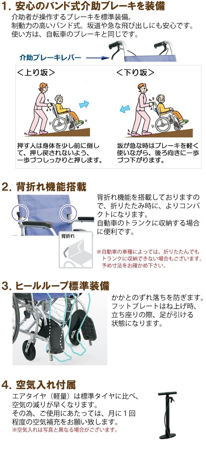 自走用車いす KF22-40SB「ふわりす(自走用)」の機能説明