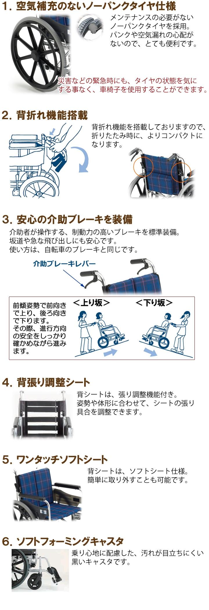 『高床型 自走用ビッグサイズ車いす KJP-2H』の機能説明