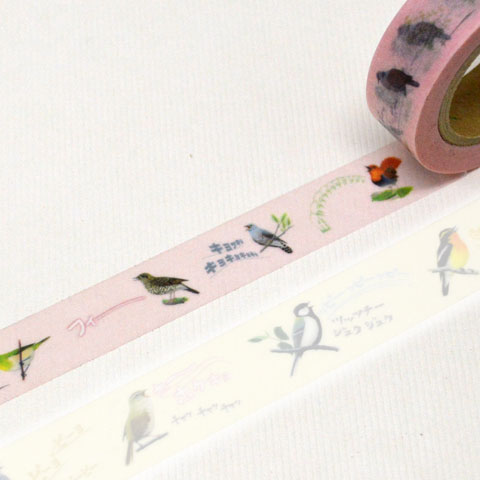 日本野鳥の会 オリジナル 鳴き声マスキングテープ(ピンク 15mm幅) 2