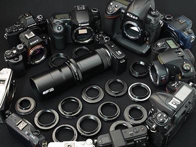 6258と市販カメラの画像。本セットのシステムとして、市販のほとんどのレンズ交換式カメラに装着が可能。
