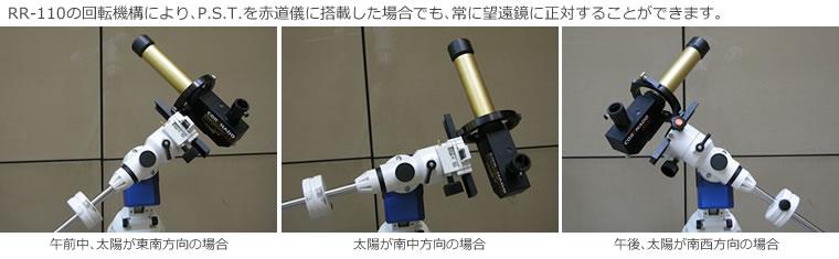 RR-110の回転機構により、P.S.T.を赤道儀に搭載した場合でも、常に望遠鏡に正対することができます。