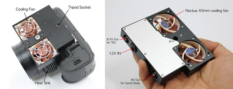 左 Active Coolingで、着脱式EXcoolerを装着した画像。右 着脱式EXcoolerの画像