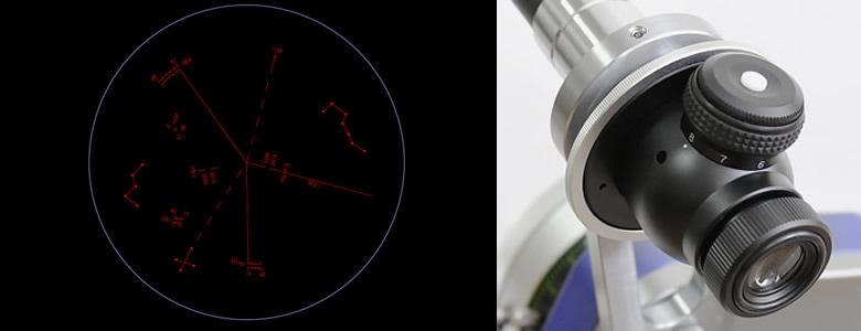 内蔵LEDで赤く浮かび上がる暗視野タイプのスケールパターンは、スカイメモタイプを採用