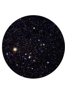 一般的な7×50双眼鏡の視界イメージ 視野周辺の星像が点像にならず、流れている例
