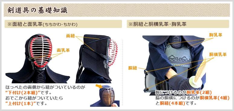 剣道用具基礎知識 面紐と乳革 胴紐と胴乳革