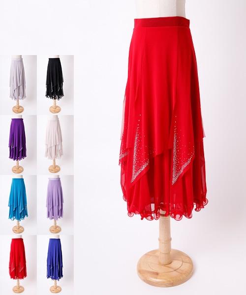 ◆SALE◆アシンメトリ—レース切替スカート【社交ダンス 衣装 スカート ロング】