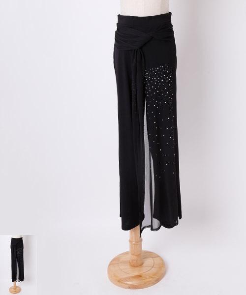 ◆オーバースカート風デザインワイドーパンツ◆【社交ダンス 衣装 パンツ レッスンウエア】