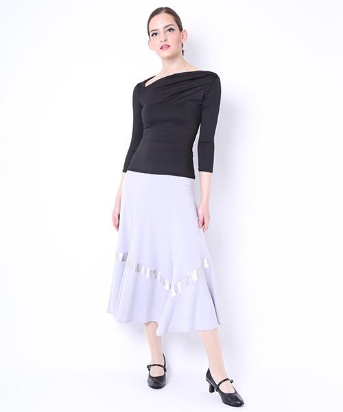 【7/7-8/31 MAX 70%OFF】サテンテープ付きロングスカート【社交ダンス 衣装 スカート ロング】