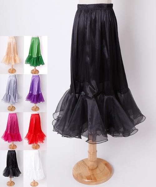 ◆SALE◆オーガンジーフリル切替ロングスカート【社交ダンス 衣装 スカート ロング】