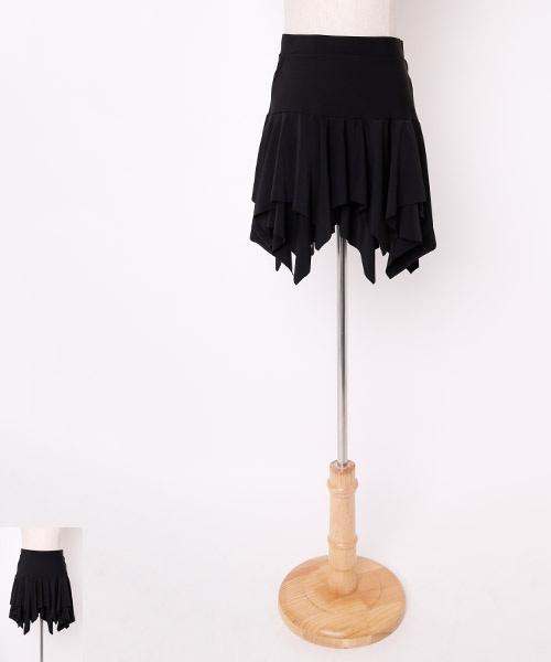 ■セール30%OFF - 12月25日23:59迄■フリルデザインオーバースカート【社交ダンス 衣装 スカート ミディアム ショート】