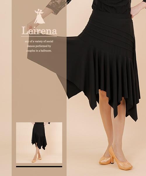 ◆SALE◆アシンメトリー斜め切り替え ミディアムスカート【社交ダンス 衣装 スカート ミディアム ショート】