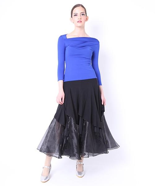 【 セール15%OFF - 8.10 23:59 】  オーガンジーティアードデザイン ロングスカート