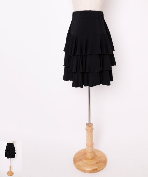 ◆SALE◆3段フリルミディアムスカート【社交ダンス 衣装 スカート】