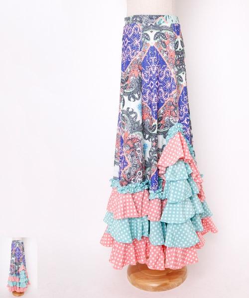 ペイズリー裾ドットフリルスカート【フラメンコ 衣装 スカート ロング】