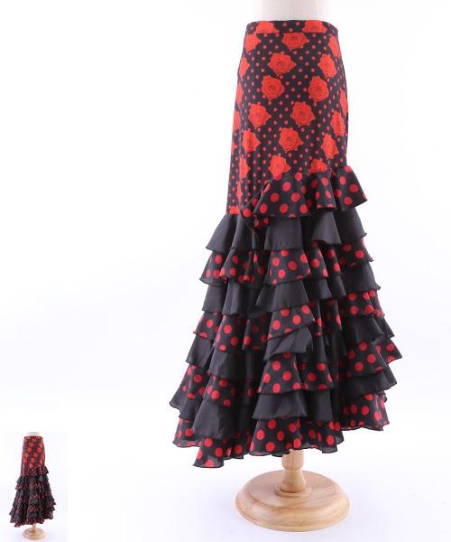 9段フリルファルダ【フラメンコ 衣装 スカート ロング 】