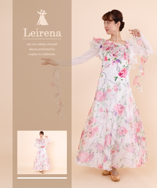 【7/7-8/31 MAX 70%OFF】Leirena Original ティアードワンピース【社交ダンス 衣装 ワンピース 花柄 】