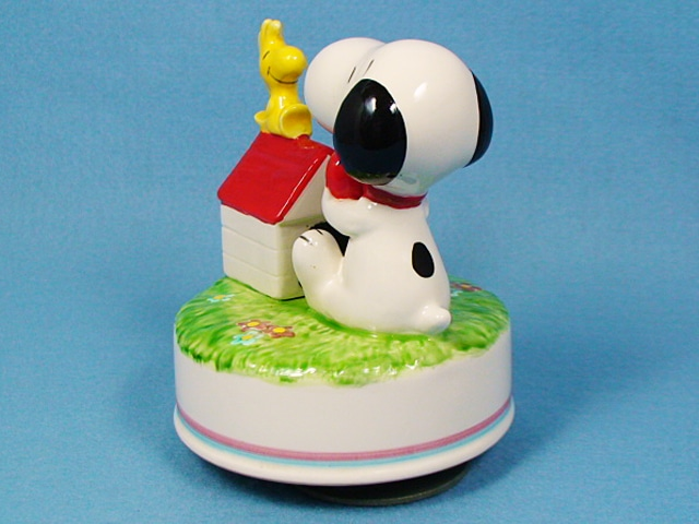 ビンテージ Aviva 1980' スヌーピー オルゴール Snoopy&Woodstock  スヌーピー&ウッドストック