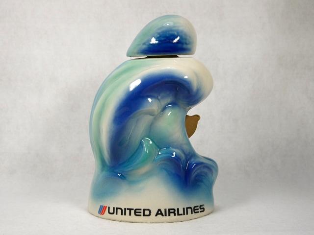 【送料無料】ビンテージ 75' ジムビーム ボトル United Airlines アウトリガーカヌー Decanter