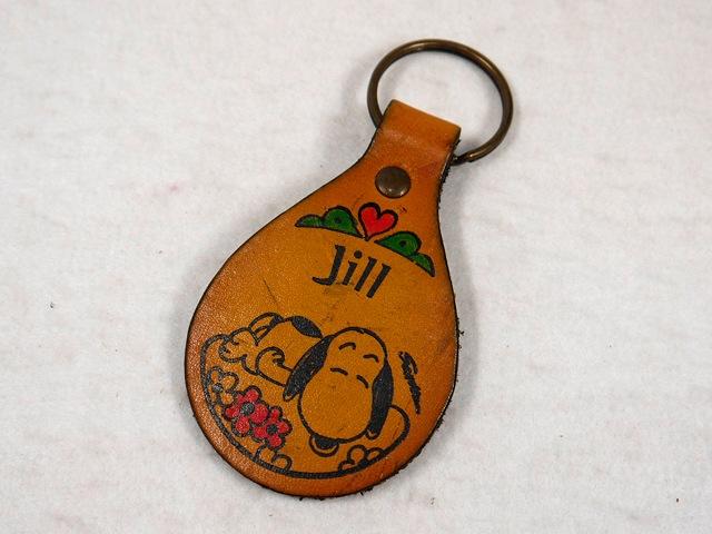 """ビンテージ Aviva 1970〜80's スヌーピー レザーキーホルダー """"Jill"""""""