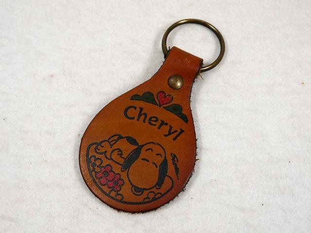 """ビンテージ Aviva 1970〜80's スヌーピー レザーキーホルダー """"Cheryl"""""""