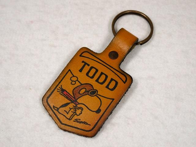 """ビンテージ Aviva 1970〜80's スヌーピー レザーキーホルダー フライングエース """"TODD"""""""