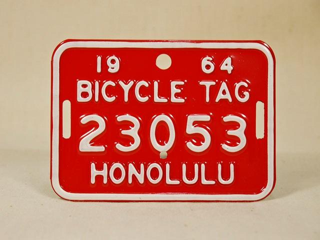 ビンテージ Hawaii ハワイ 1964 BICYCLE PLATE バイシクル プレート 赤