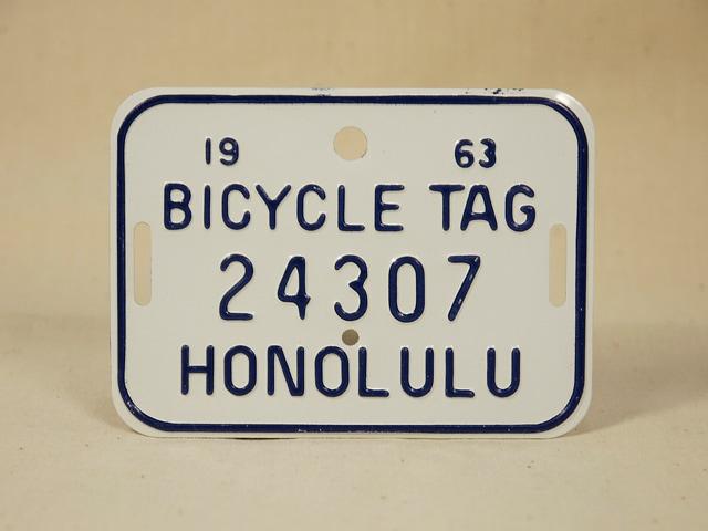 ビンテージ Hawaii ハワイ 1963 BICYCLE PLATE バイシクル プレート 白