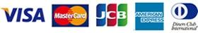 JCB, VISA, Diners Club, MasterCard, AMERICANEXPRES
