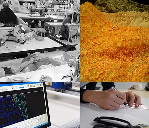 日本国内の工場でパターンから縫製まで行っています