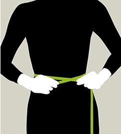 ウエストサイズは、裸でウエストの一番細い部分を測ります。