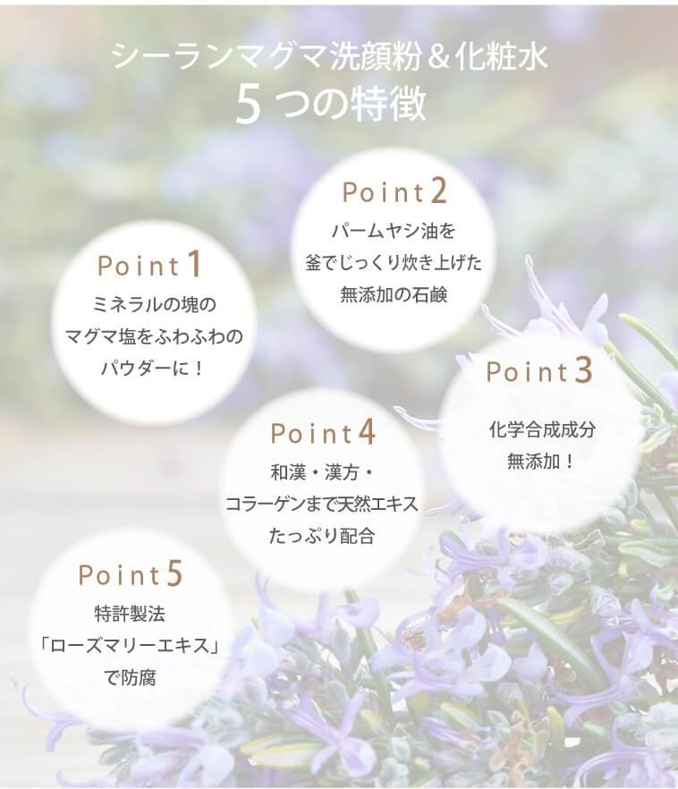 マグマ化粧水・洗顔粉5つの特徴