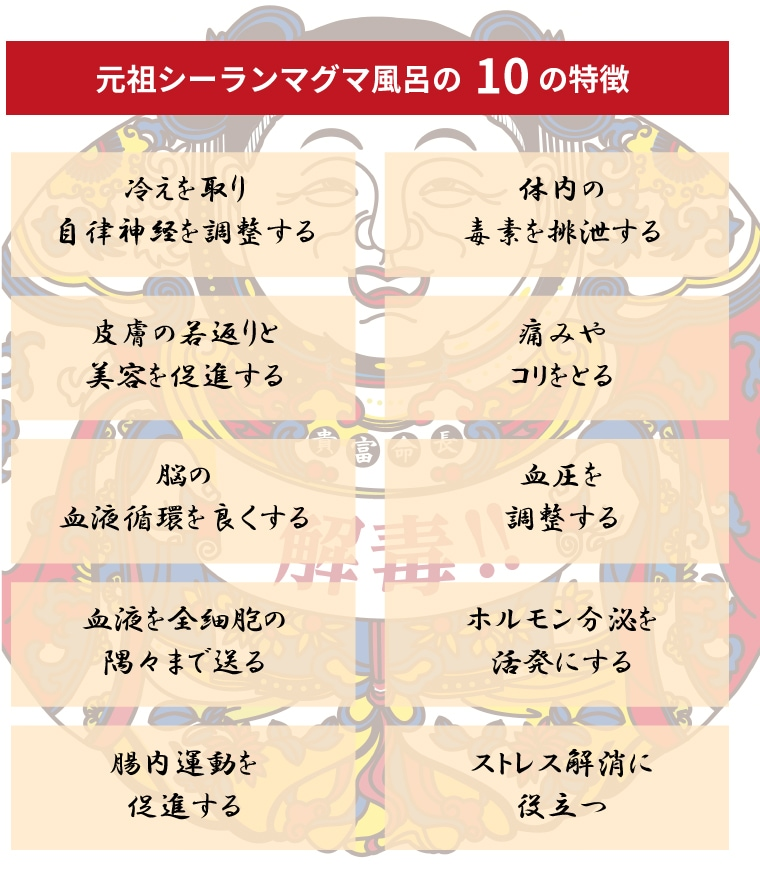 元祖シーランマグマ風呂10の特徴