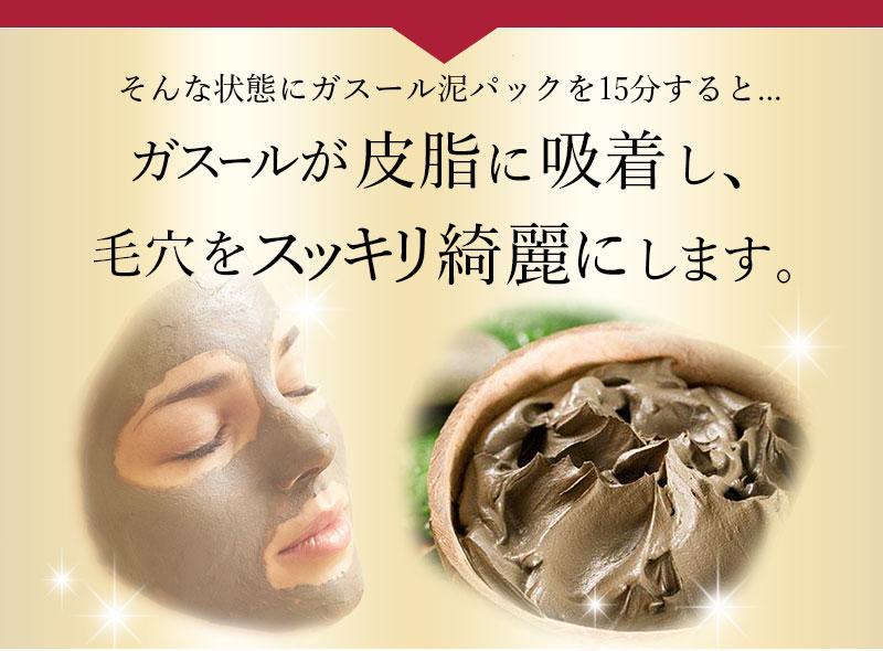 ガスールが皮脂に吸着し毛穴を綺麗にします。