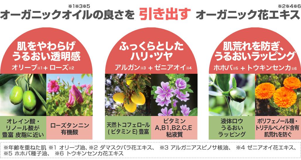 3種のオイルと花のイメージ