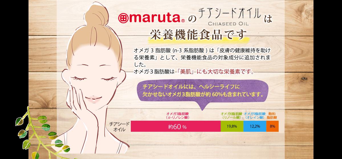 marutaのチアシードオイルは栄養機能食品です。