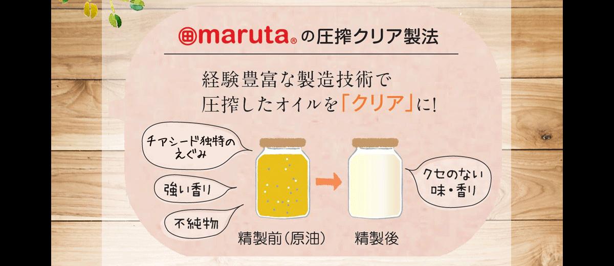 marutaの圧搾クリア製法 経験豊富な製造技術で圧搾したオイルを「クリア」に!