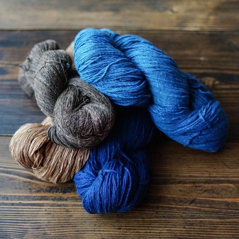 オーガニックコットン手つむぎ糸|天然染料染め
