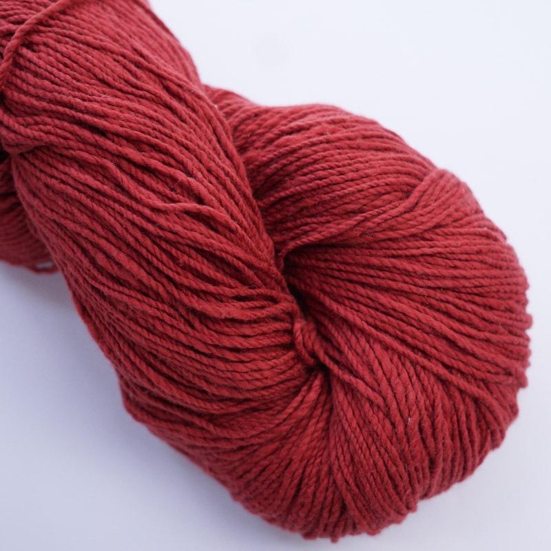 オーガニックコットン手つむぎ糸|417/2 カラー60色 臙脂色