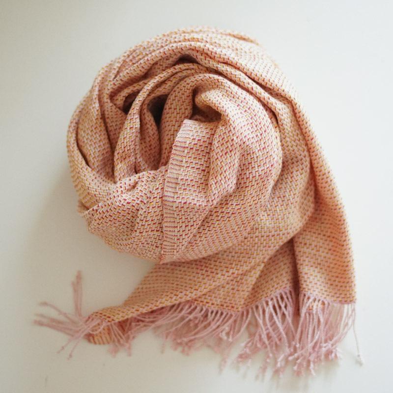 オーガニックコットン手つむぎストール|UVカットショール ななこ織り ピンク