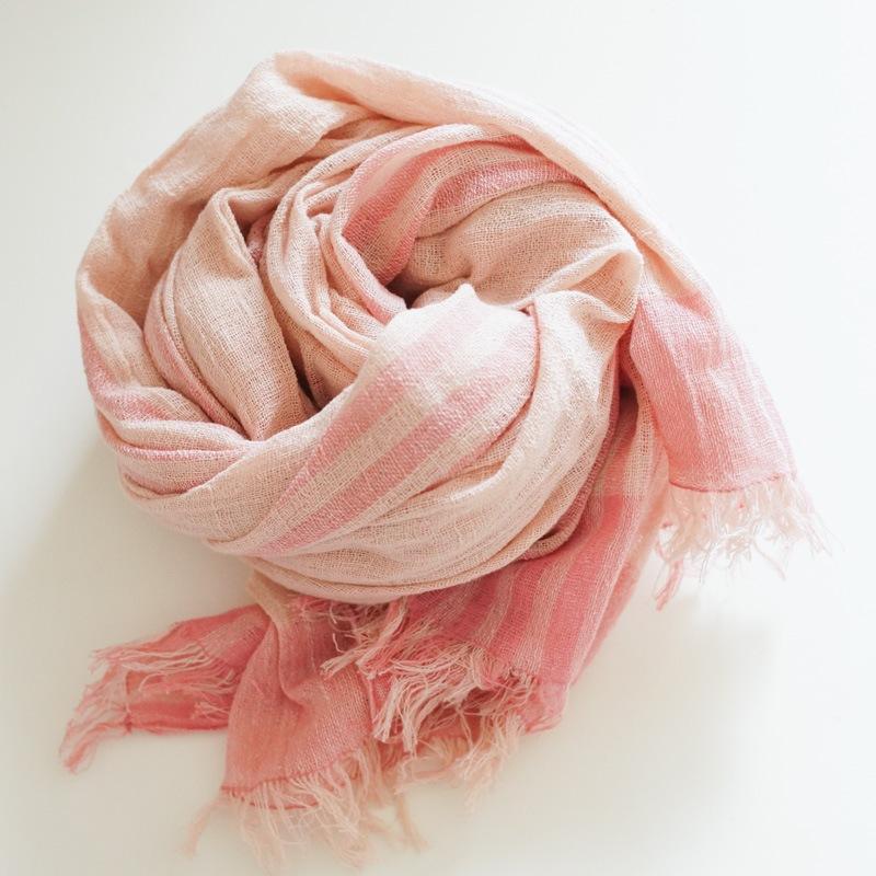 オーガニックコットン手つむぎストール|UVカットストール パネル柄 ピンク/薄ピンク